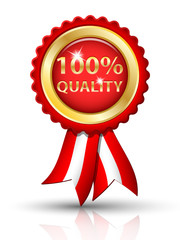 Golden 100% QUALITY tag with ribbons