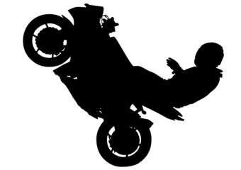 Wall Mural - Motorcyclist performed extreme stunts on a white background