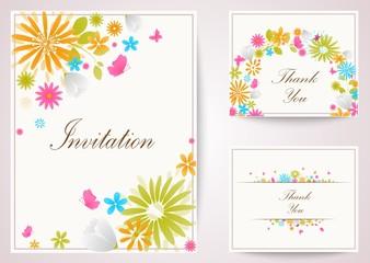 Vintage flowers invitation