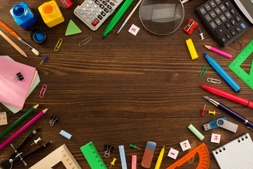 school supplies on wood Wall mural