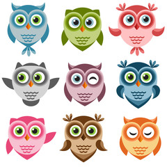 Set of cute cartoon owlets