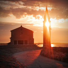 The Church of the Blessed Virgin, Caorle, coastal town in the pr