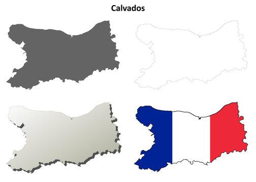 Calvados (Lower Normandy) outline map set