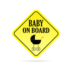 baby on board carriage vector
