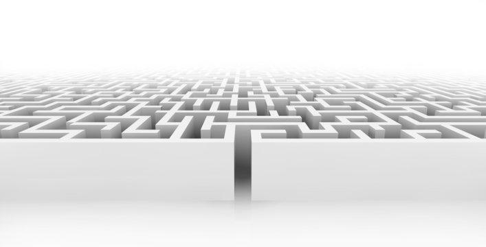 White maze, complex way to find exit.