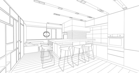 Modern interior drawing. Architectural design.
