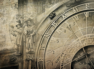 Detail of the Prague Astronomical Clock , vintage image