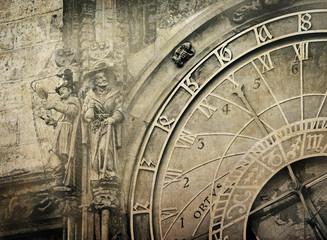Papiers peints Retro Detail of the Prague Astronomical Clock , vintage image