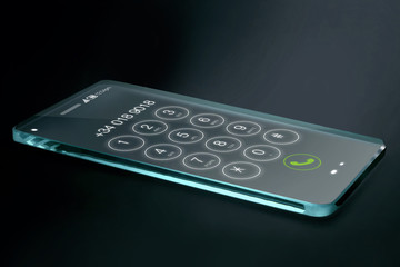 Transparent smartphone with dial number on dark background