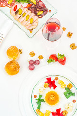 Meat Canapes, starters on White Dish
