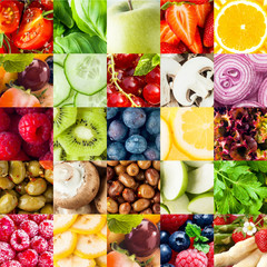 Colorful fruit and vegetable collage background