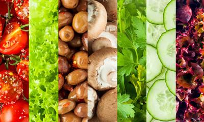 Collage of healthy fresh salad ingredients