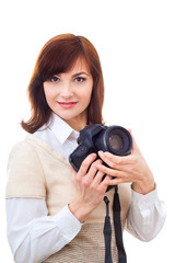 Beautiful adult woman with camera