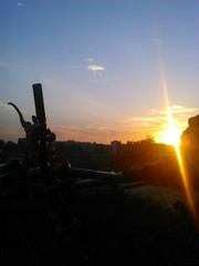 Silhouette of a bicycle in sunset