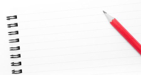 White blank  notebook page with copy space