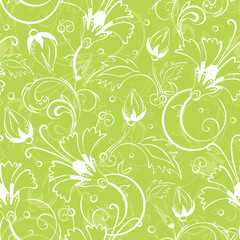 vector bright green floral seamless pattern background