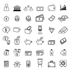 set of financial line icons