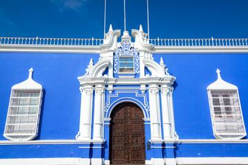 Blue Colonial Building in Peru