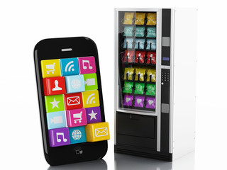 3d Smartphone with application Icons. e-commerce concept