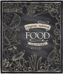 Organic natural food chalkboard.