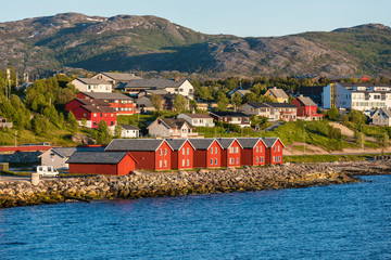 Garden Poster Scandinavia Red houses on the bay of Alta, Norway