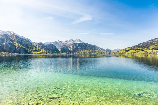 beautiful Attersee in the alps in the Salzkammergut, Austria