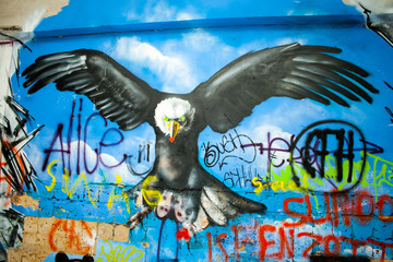 Poster Submarine eagle graffiti in an abandoned factory building