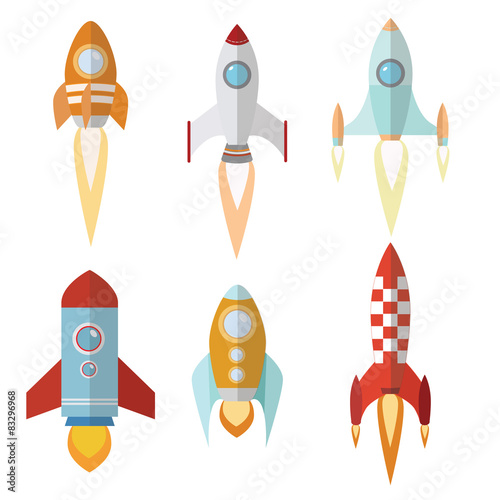 """rocket spaceship with flat design"""" stock image and royalty-free"""