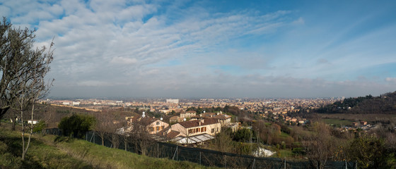 Panoramic view of Bologna, Italy, from San Pellegrino park