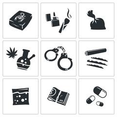 Drugs abuse icons set