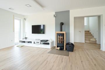 Fototapeta wohnzimmer mit kamin obraz