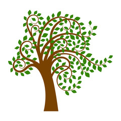 Illustration of tree with green leaves isolated