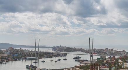 Vladivostok cityscape, overcast sky.