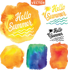 Abstract wtercolor background.Summer design template