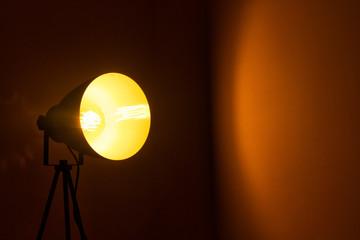 Yellow light in a dark room