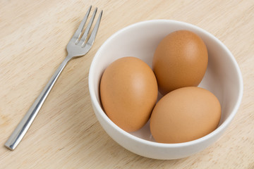 Eggs in a bowl for food preparation