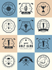 Vector Set Badges Golf