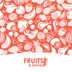 seamless pattern vector fruits and berries icons