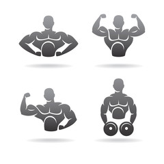 Fitness labels and icons set. Vector