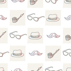 Hipster seamless pattern with hat and glasses, mustaches and tob