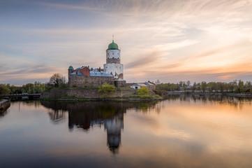 Viborg Medieval castle at sunset