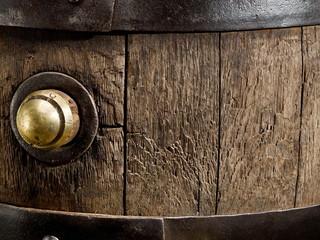 Old oak wine barrel. Close-up.