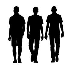 man walking three black silhouette