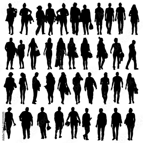 """people walking silhouette vector black"" Stock image and ..."