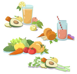 Smoothie. Fresh juice. Healthy diet. Fruit and vegetables.