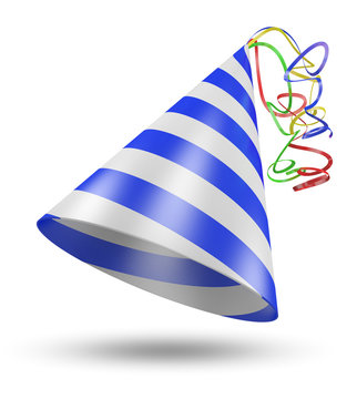 3D birthday party cone hat with blue stripes and shiny ribbons