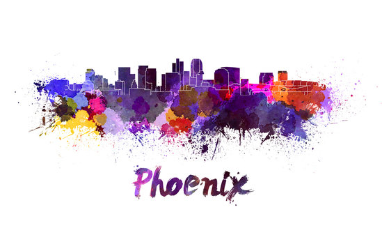 Phoenix skyline in watercolor