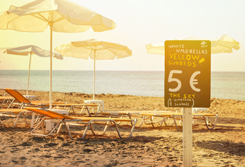 Beach rental service concept