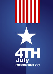 4th July white star red blue background