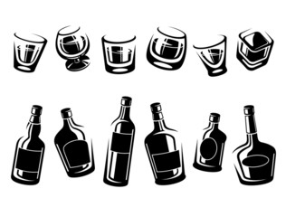 Whiskey bottle and glass set. Vector
